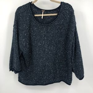 Free people navy marled wool chunky knit sweater